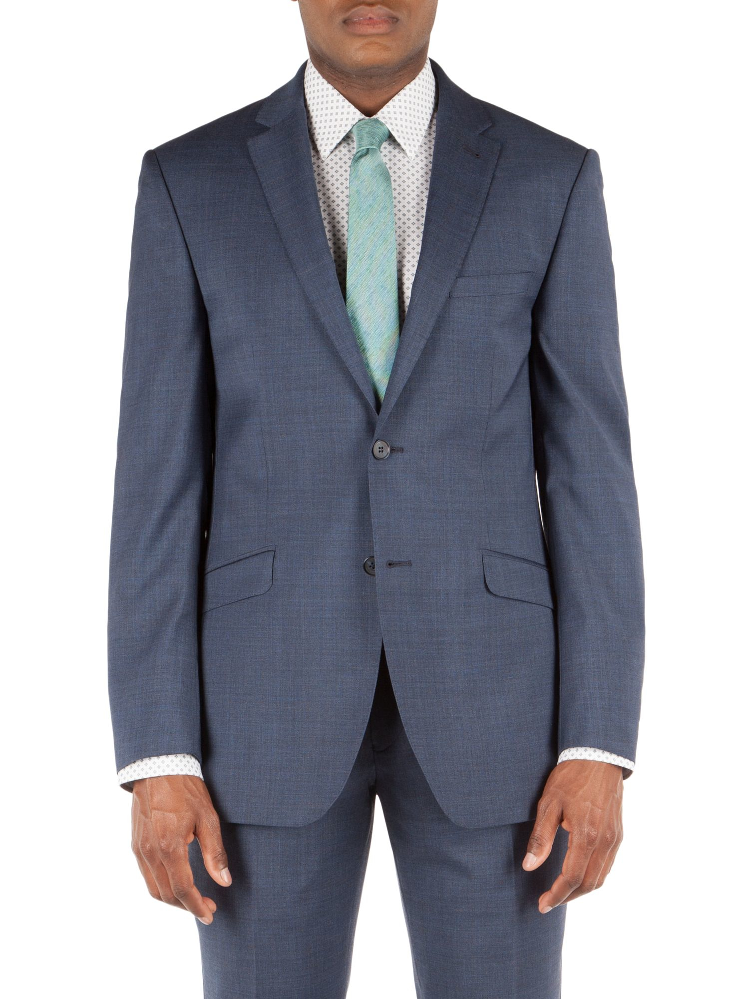 Racing green Plain Weave Buggy Lined Tailored Jacket in Blue for