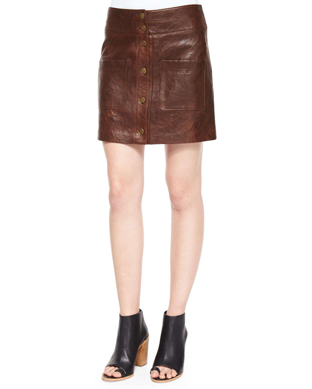 beard patrol cargo leather mini skirt in brown lyst