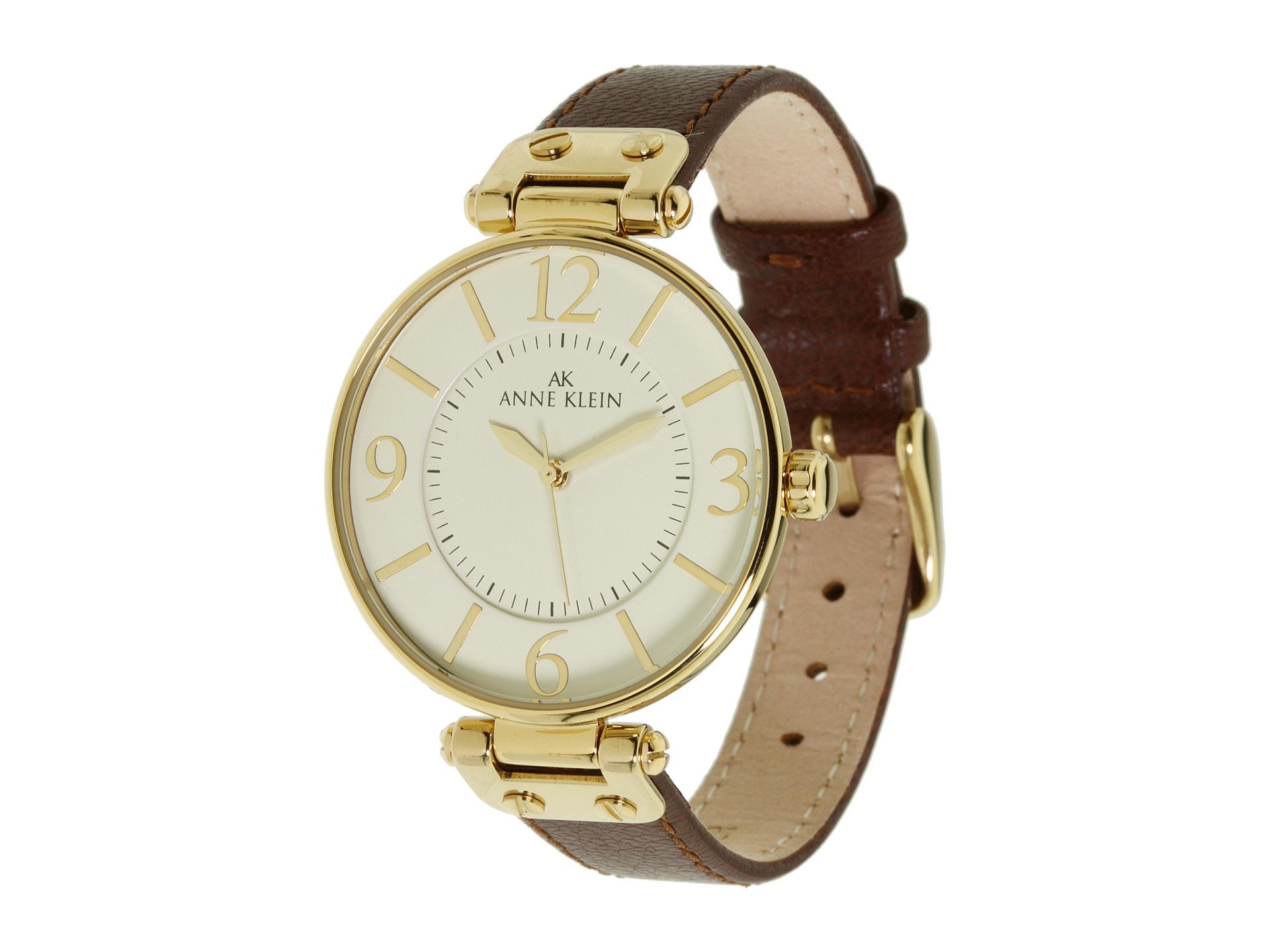 Anne klein 109168ivbn round dial leather strap watch in metallic lyst for Anne klein leather strap