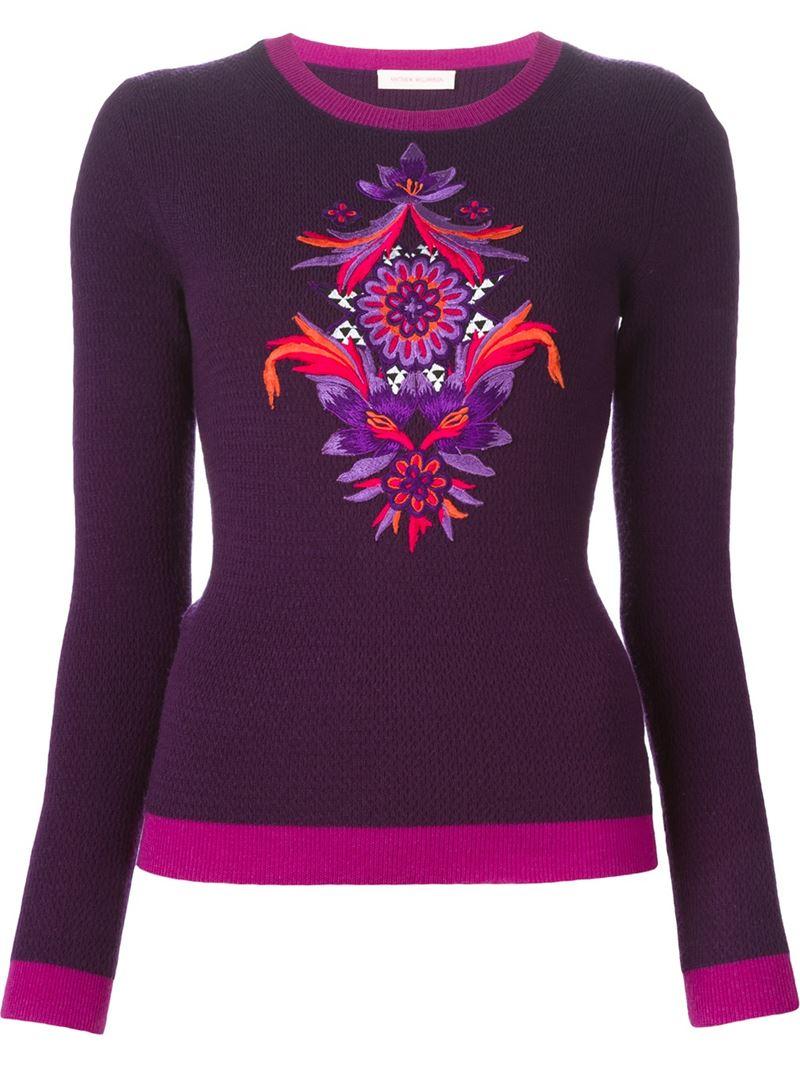 Matthew williamson Embroidered Flower Sweater in Purple | Lyst