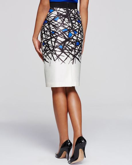 milly abstract print pencil skirt in white cobalt lyst