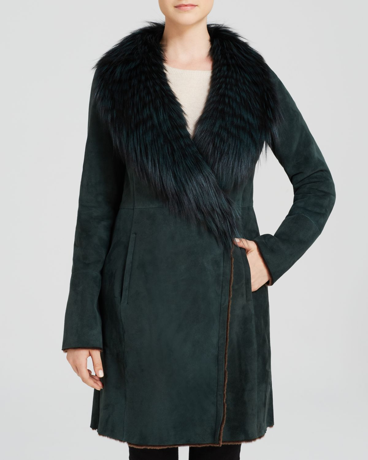Maximilian Lamb Shearling Coat With Fox Fur Wing Collar in Green