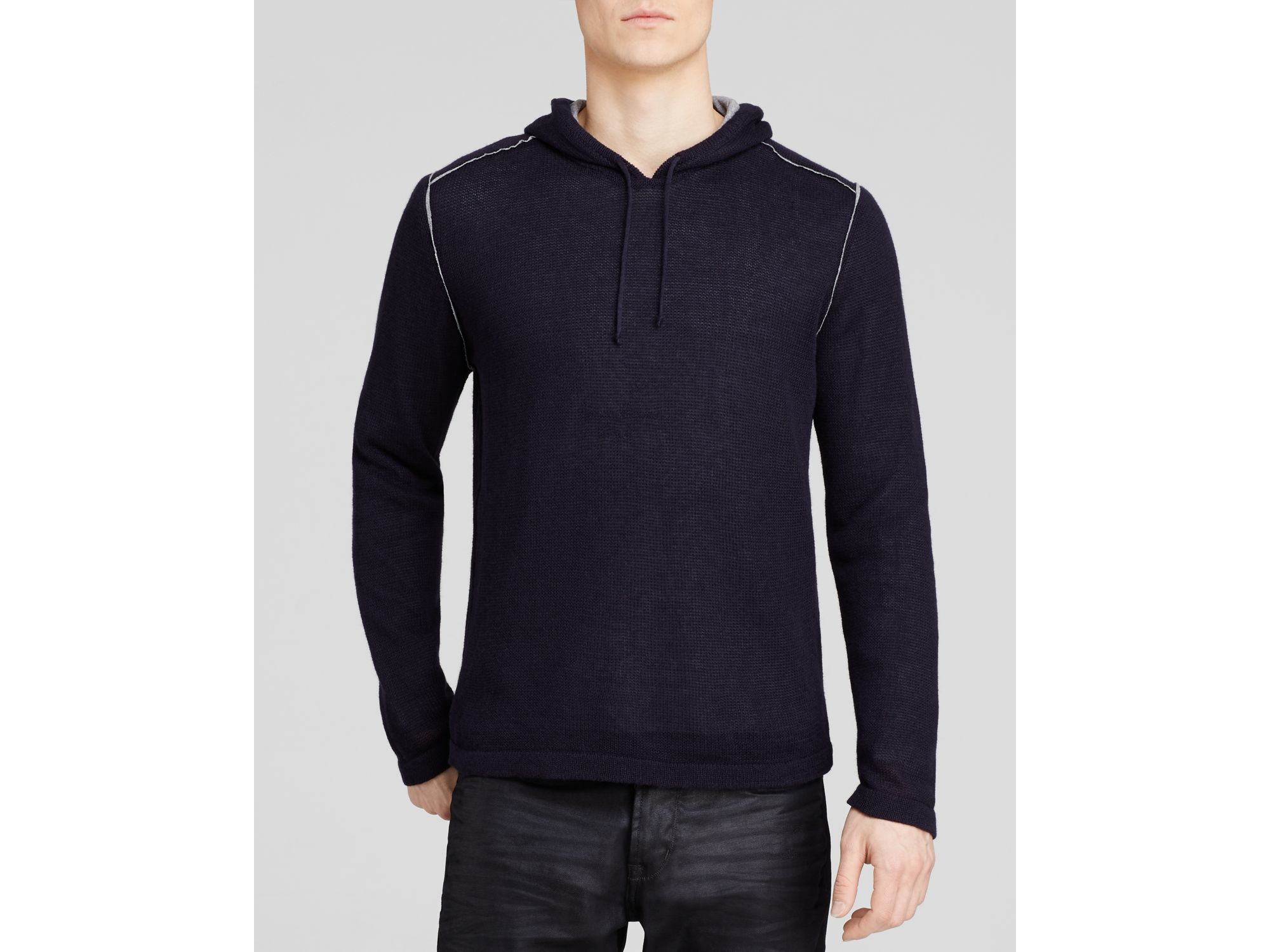 John varvatos Star Usa Double Layer Sweater Hoodie in Blue for Men ...