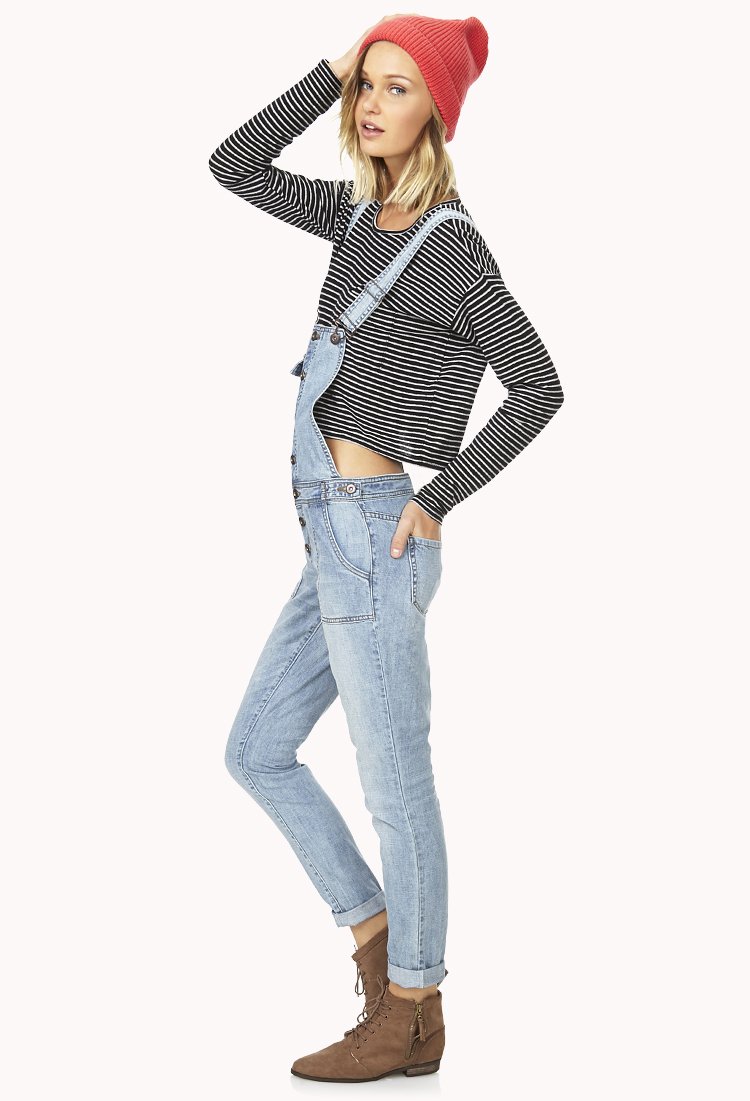 Overalls Are Making A Comeback As The Latest Fashion Trend: Forever 21 Prairie Life Denim Overalls In Blue