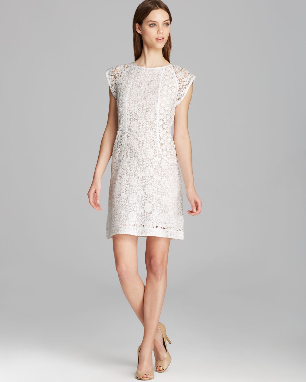 Turmec » white cap sleeve cocktail dress