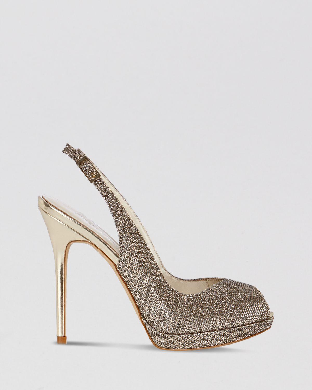 7d150d33204 Lyst - Karen Millen Peep Toe Platform Evening Slingback Sandals ...