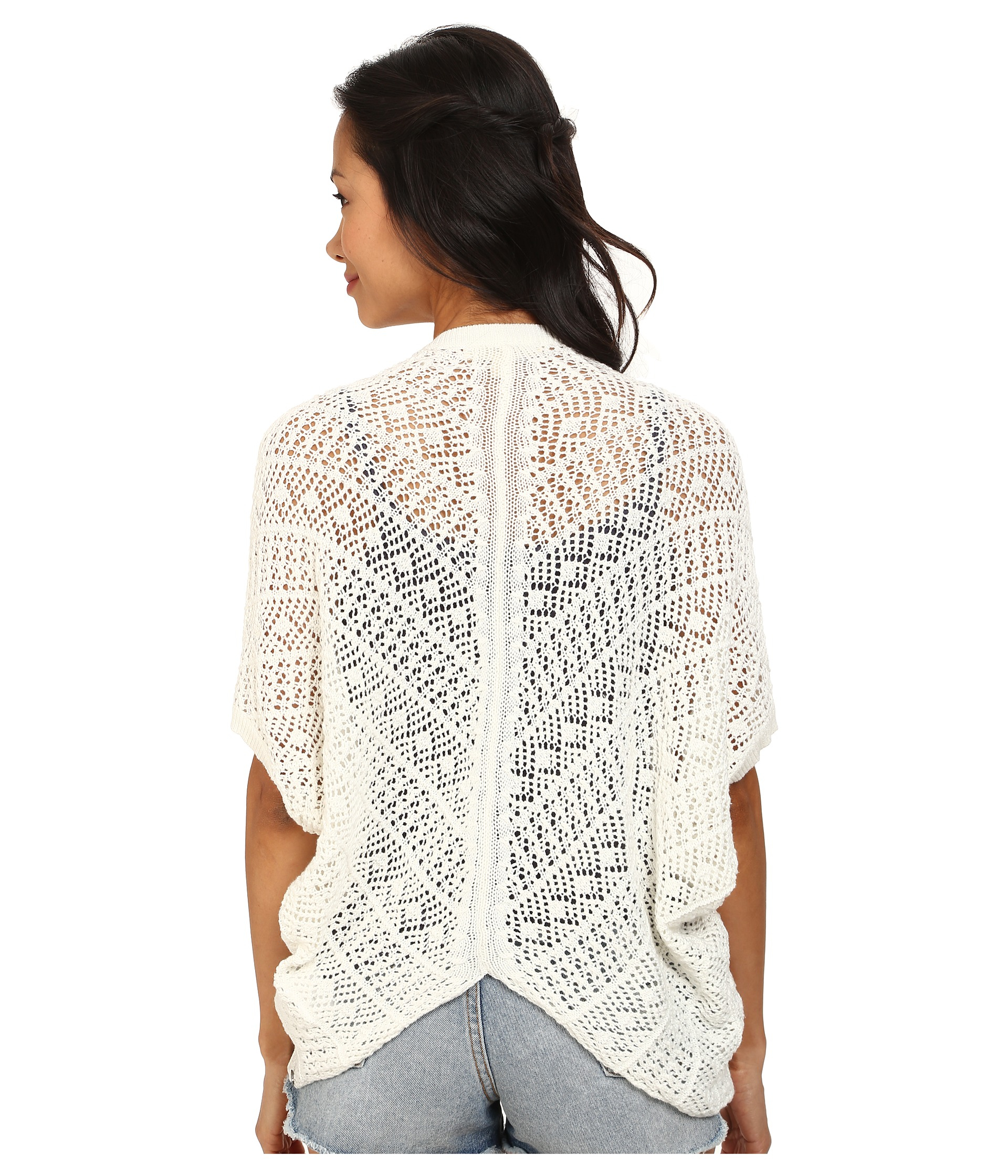 Roxy Same Old Feeling Short Sleeve Open Cardigan in White | Lyst
