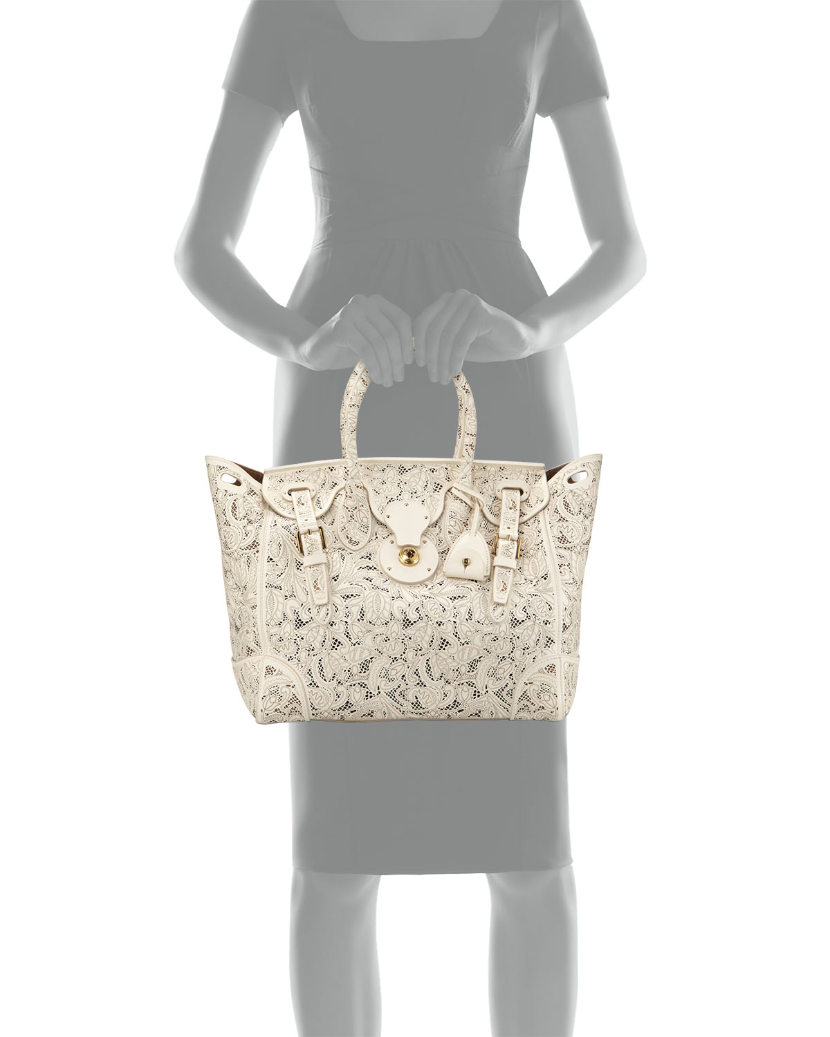 dca73ec963 Lyst - Pink Pony Soft Ricky 33 Lace-cut Leather Satchel Bag in White
