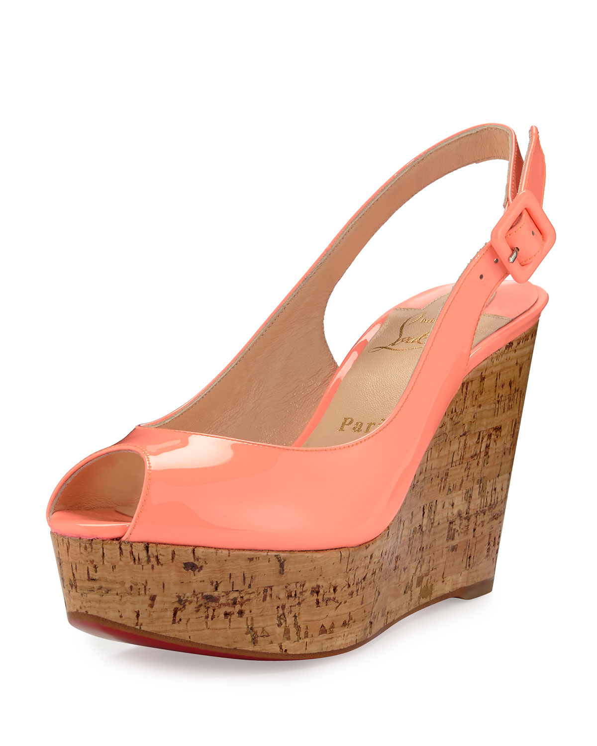 ebe061bccf3 ... switzerland lyst christian louboutin une plume patent peep toe red sole  wedge 255bd 91e41