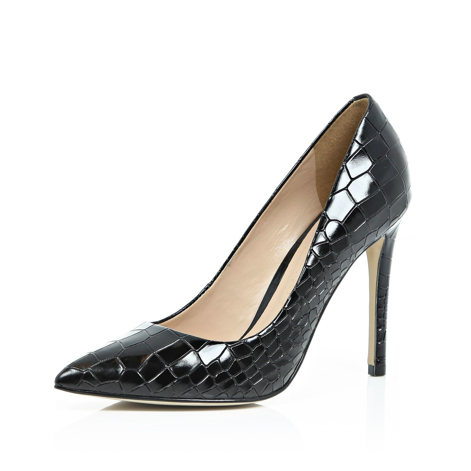 25550e1b67a Lyst - River Island Black Patent Leather Croc Court Shoes in Black