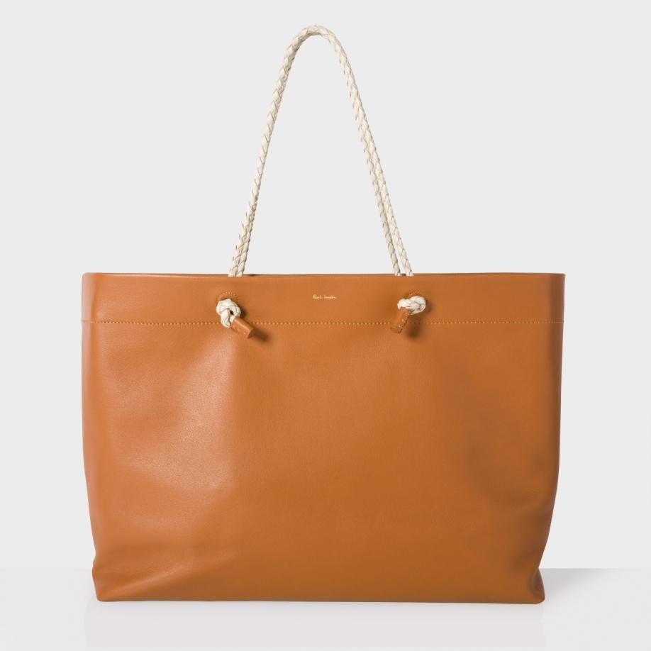 Paul smith Women's Large Tan Leather 'paper Bag' Shopper Tote Bag ...