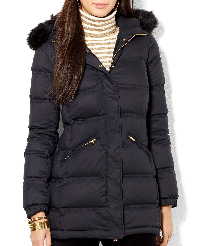 Ralph Lauren Lauren Down Puffer Coat in Black | Lyst