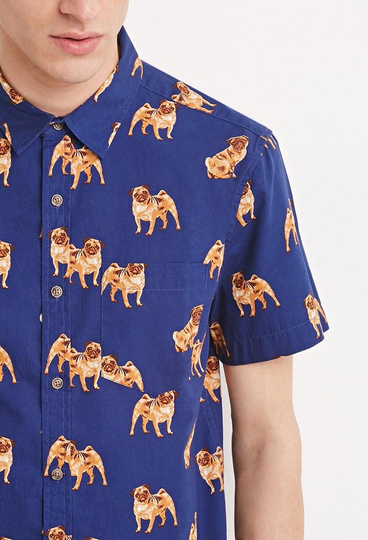 Lyst Forever 21 Pug Print Shirt In Blue For Men