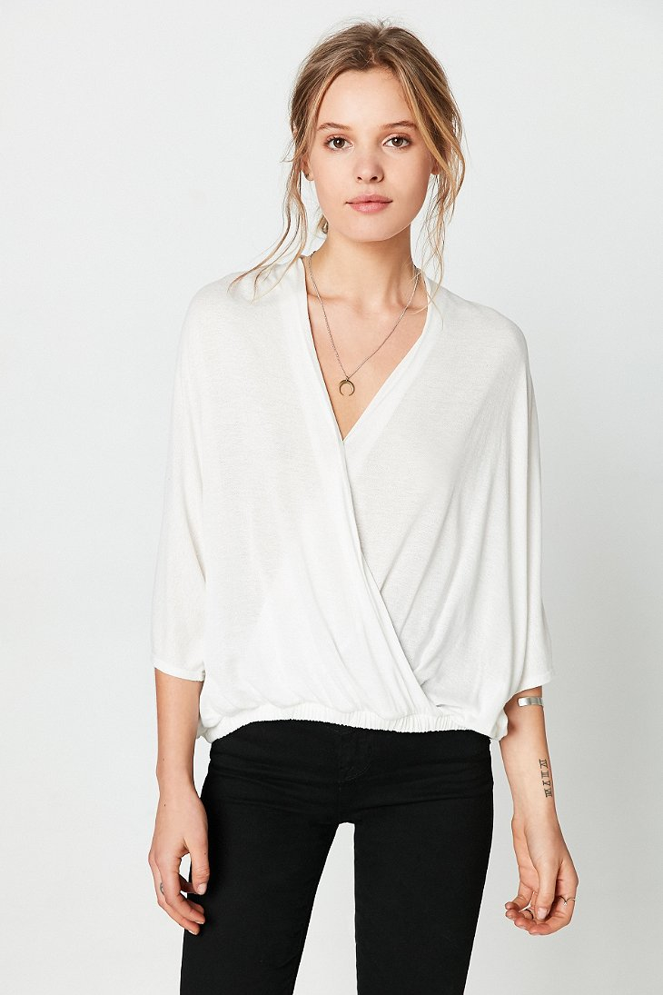 Silence + Noise Night Owl Surplice Top In White