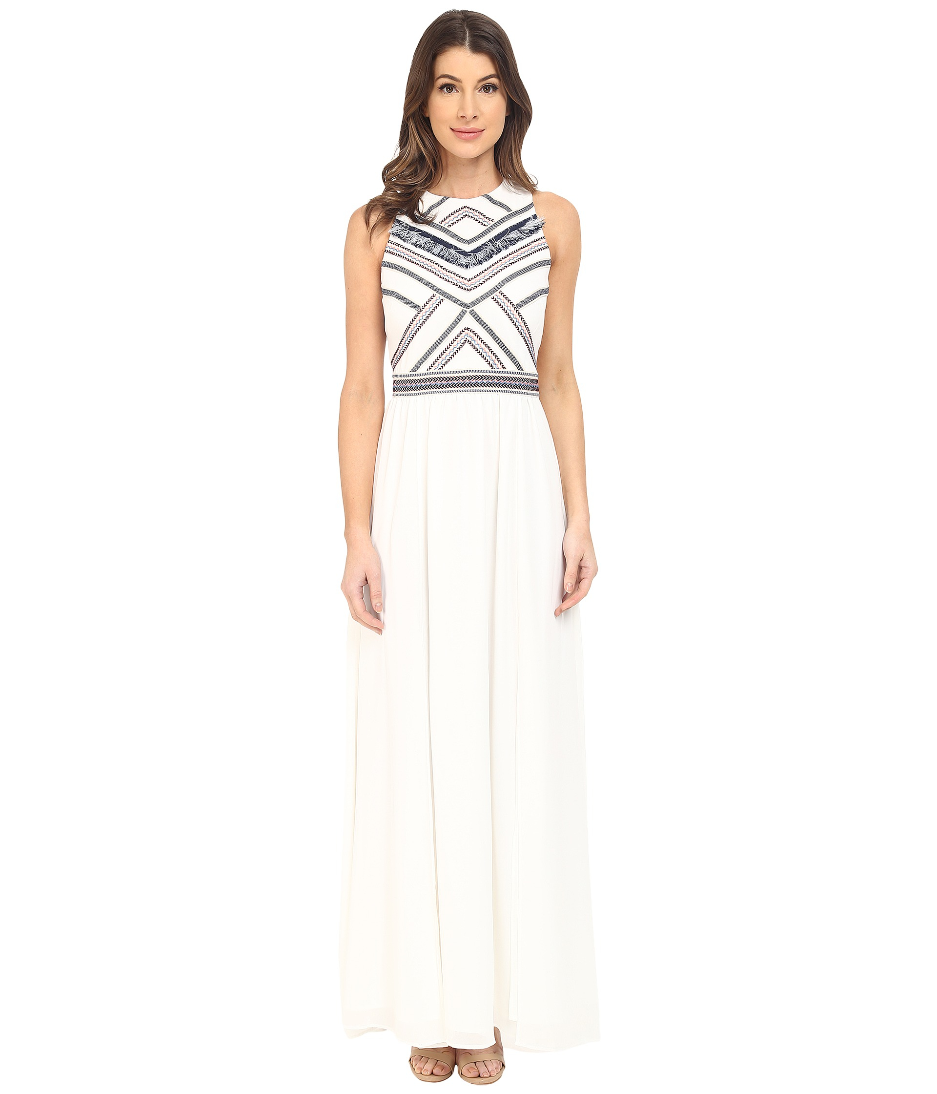 a3daabb2c082a Lyst - Adelyn Rae Maxi Dress W  Fringe Detail in White