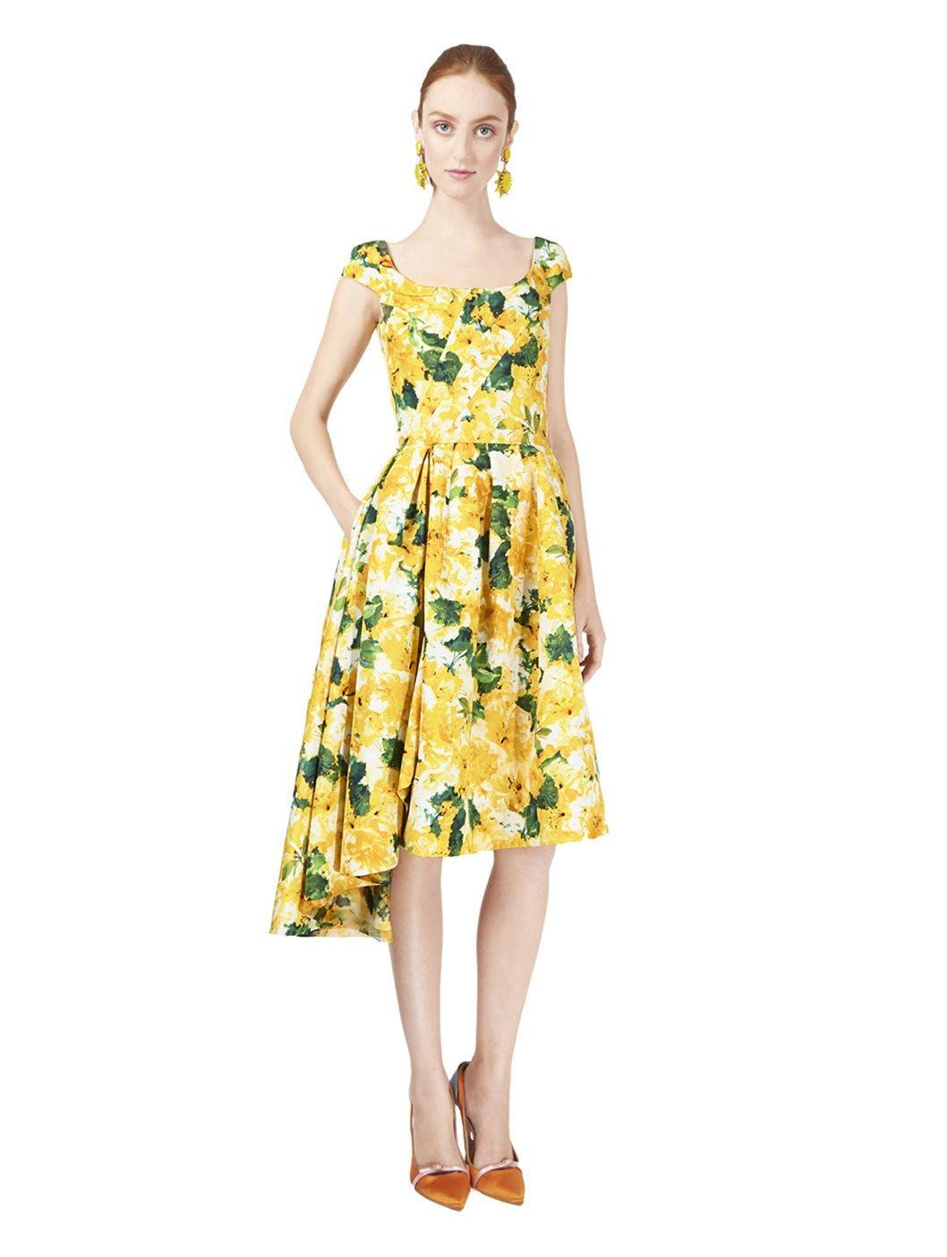 Lyst Oscar De La A Cap Sleeve Azalea Print Dress In Yellow