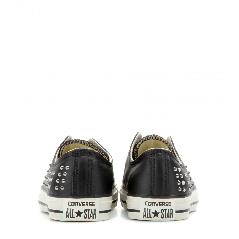 Lyst - Converse Chuck Taylor All Star Low Studded Leather Sneakers ... 04b4972ee