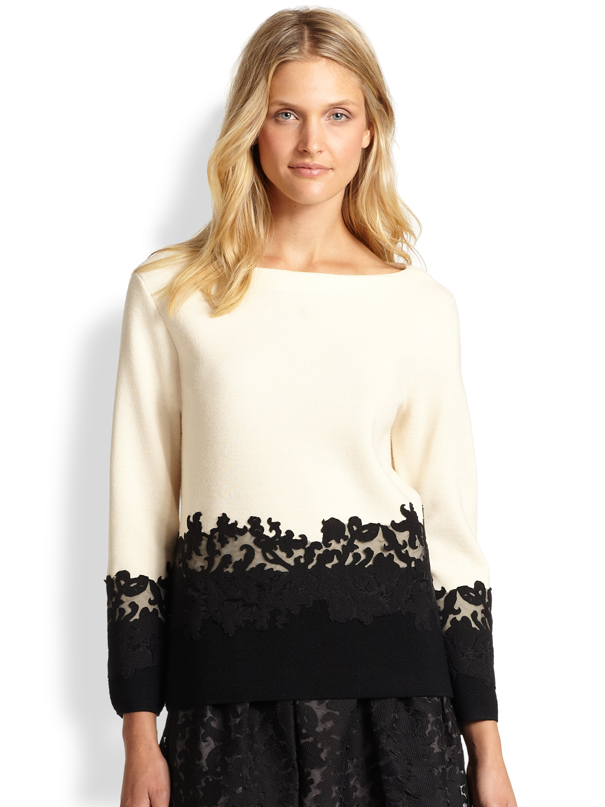 Lyst tory burch dixie sweater in natural for Tory burch fashion island