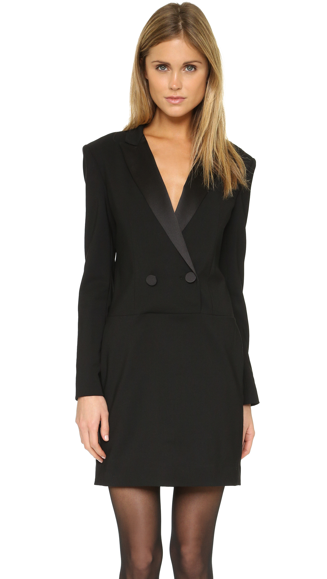 Lyst Dkny Long Sleeve Tuxedo Dress In Black