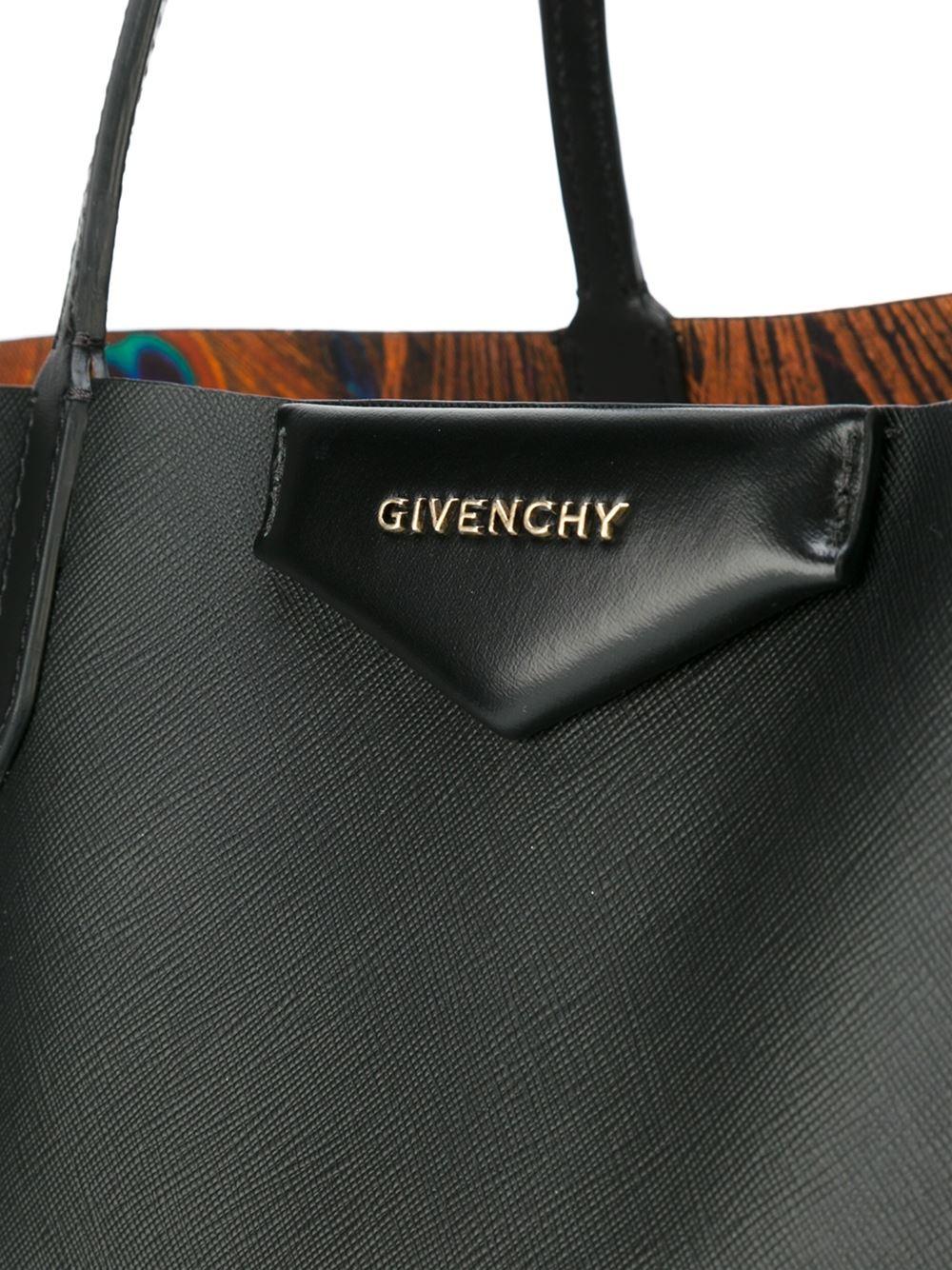 631c3015eaa1 Lyst - Givenchy Peacock Print Antigona Shopping Bag in Black