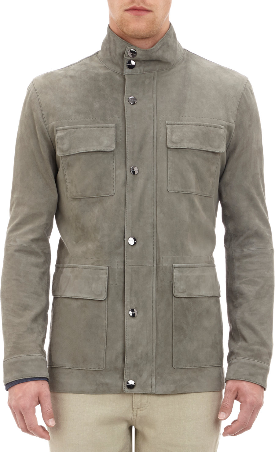 Michael Kors Suede Field Jacket In Gray For Men Grey Lyst