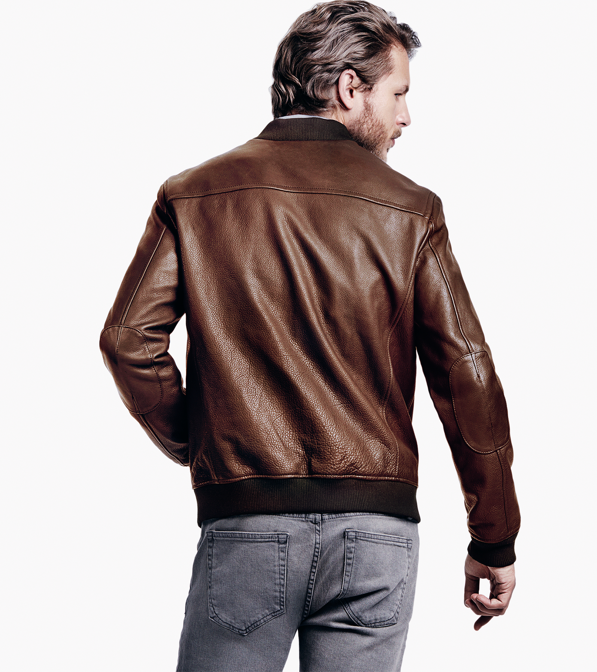 Mens leather baseball jacket