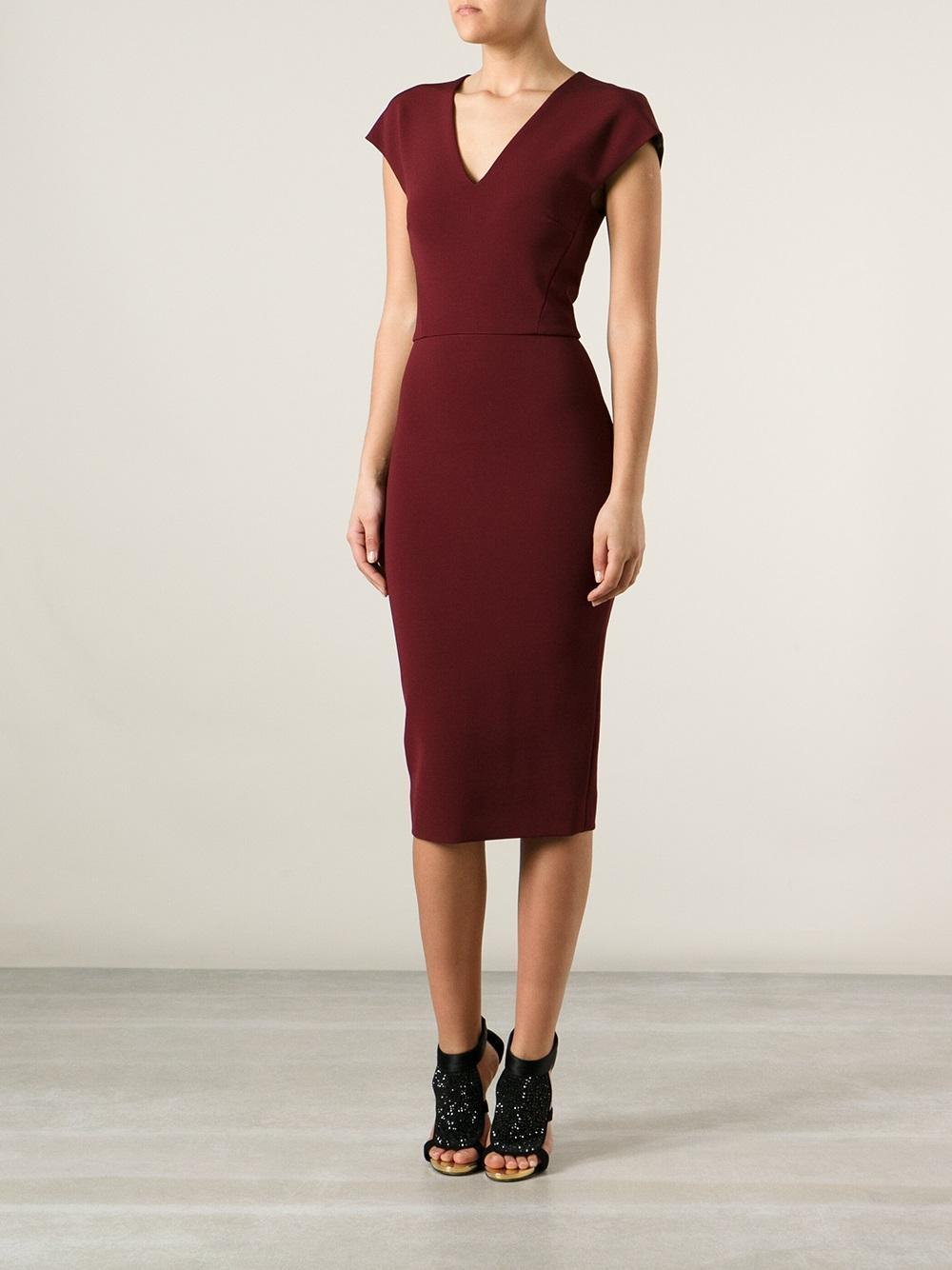 Lyst Victoria Beckham Bodycon Dress In Red
