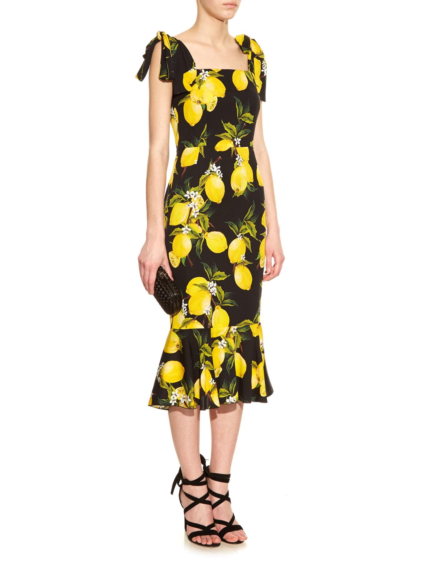 574ff1f908c Lyst - Dolce   Gabbana Lemon-print Fluted-hem Straps Dress in Yellow