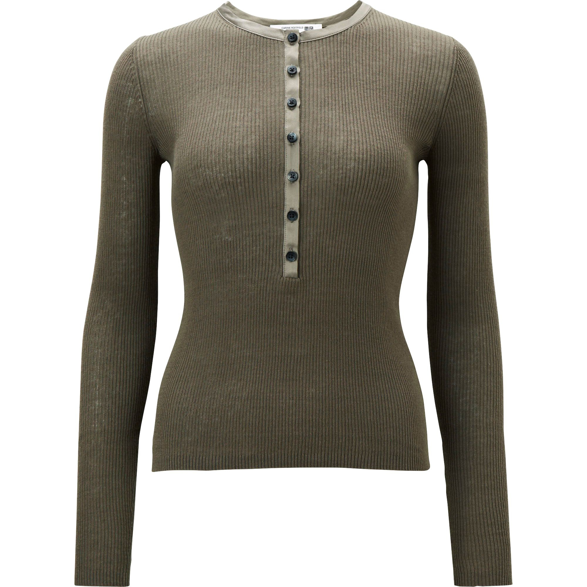 Uniqlo women carine rib henley neck long sleeve sweater in natural