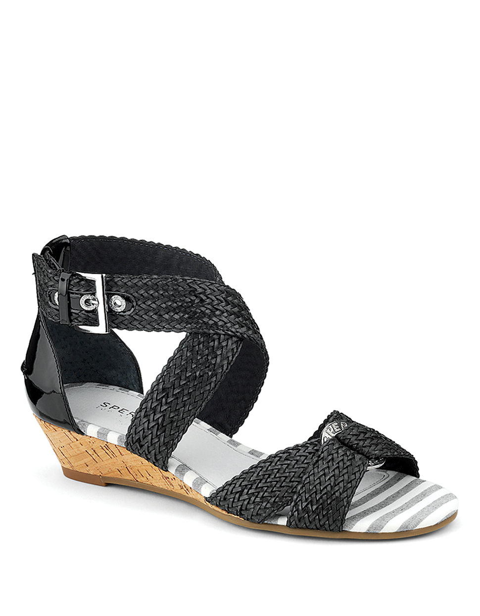 sperry top sider alvina woven leather wedge sandals in