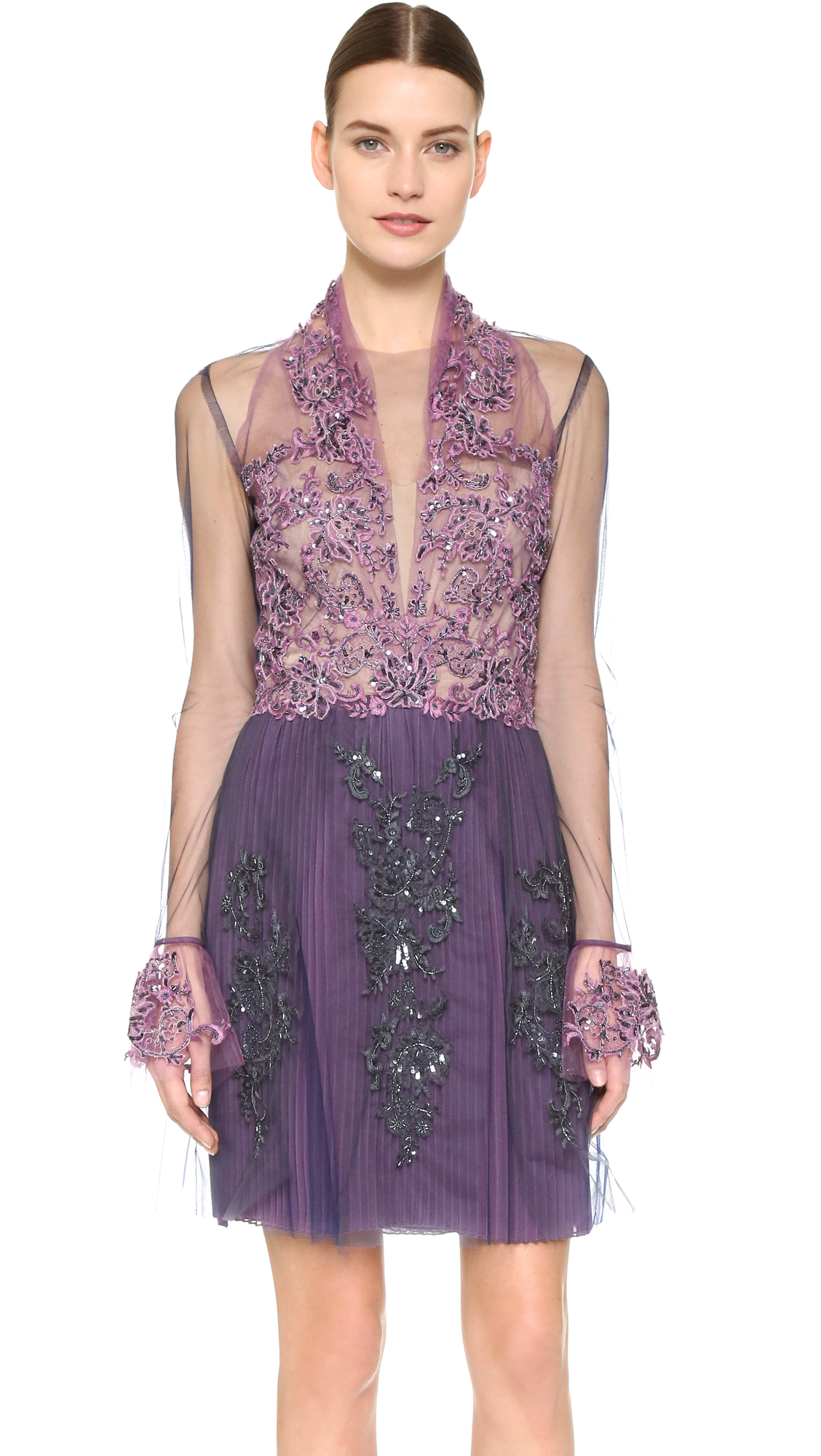 Lyst - Reem Acra Re-embroidered Lace Illusion Dress - Violet/blue in ...