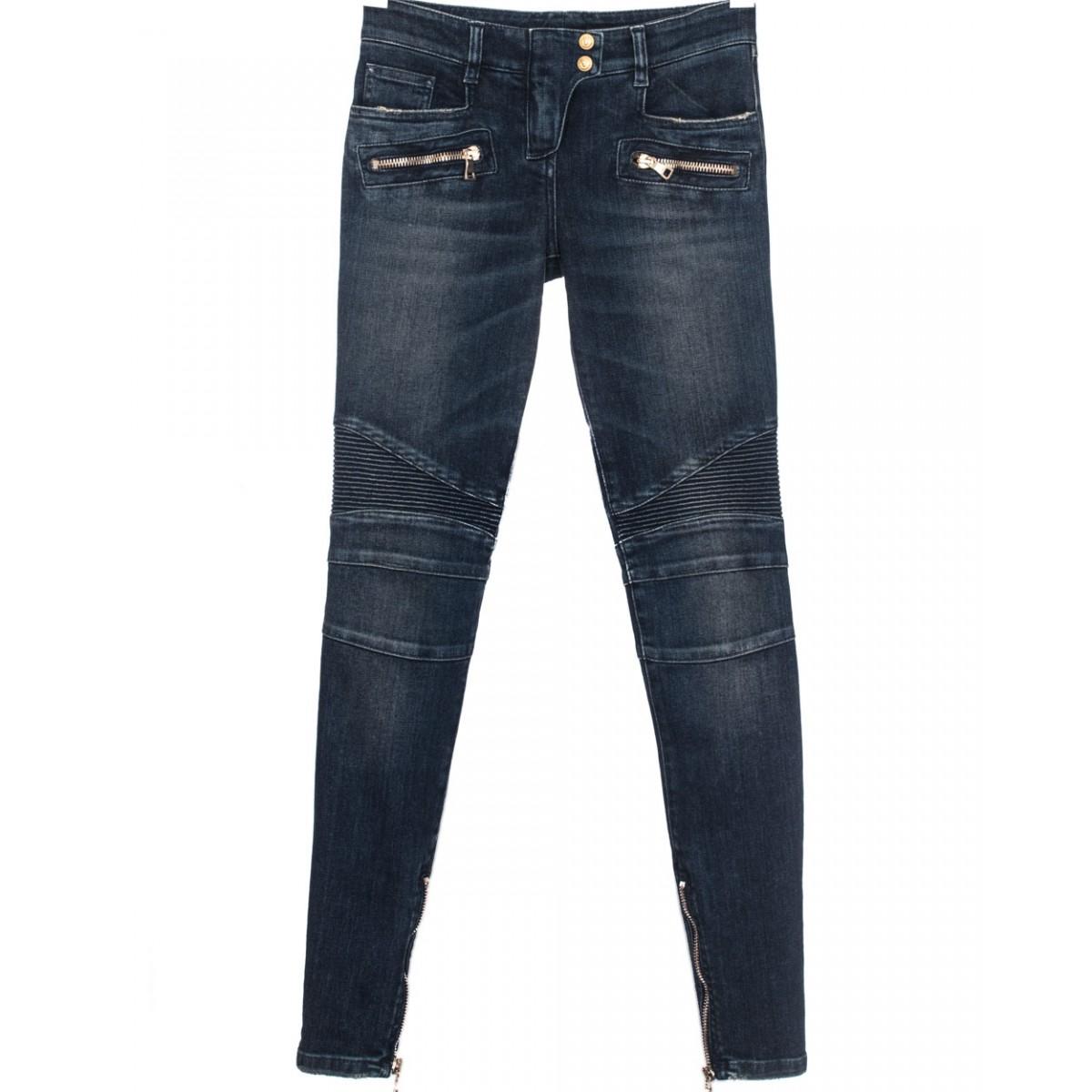 balmain blue denim biker jeans in blue lyst. Black Bedroom Furniture Sets. Home Design Ideas