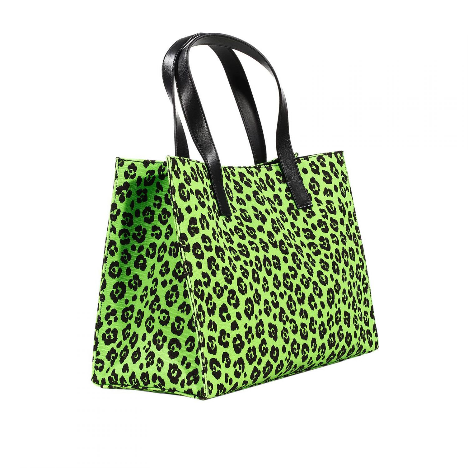 moschino handbag bag shopping canvas printed animalier patchwork in green lyst. Black Bedroom Furniture Sets. Home Design Ideas