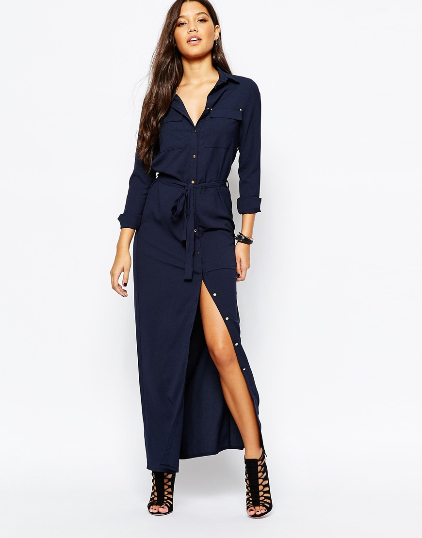 lyst missguided belted maxi shirt dress in blue