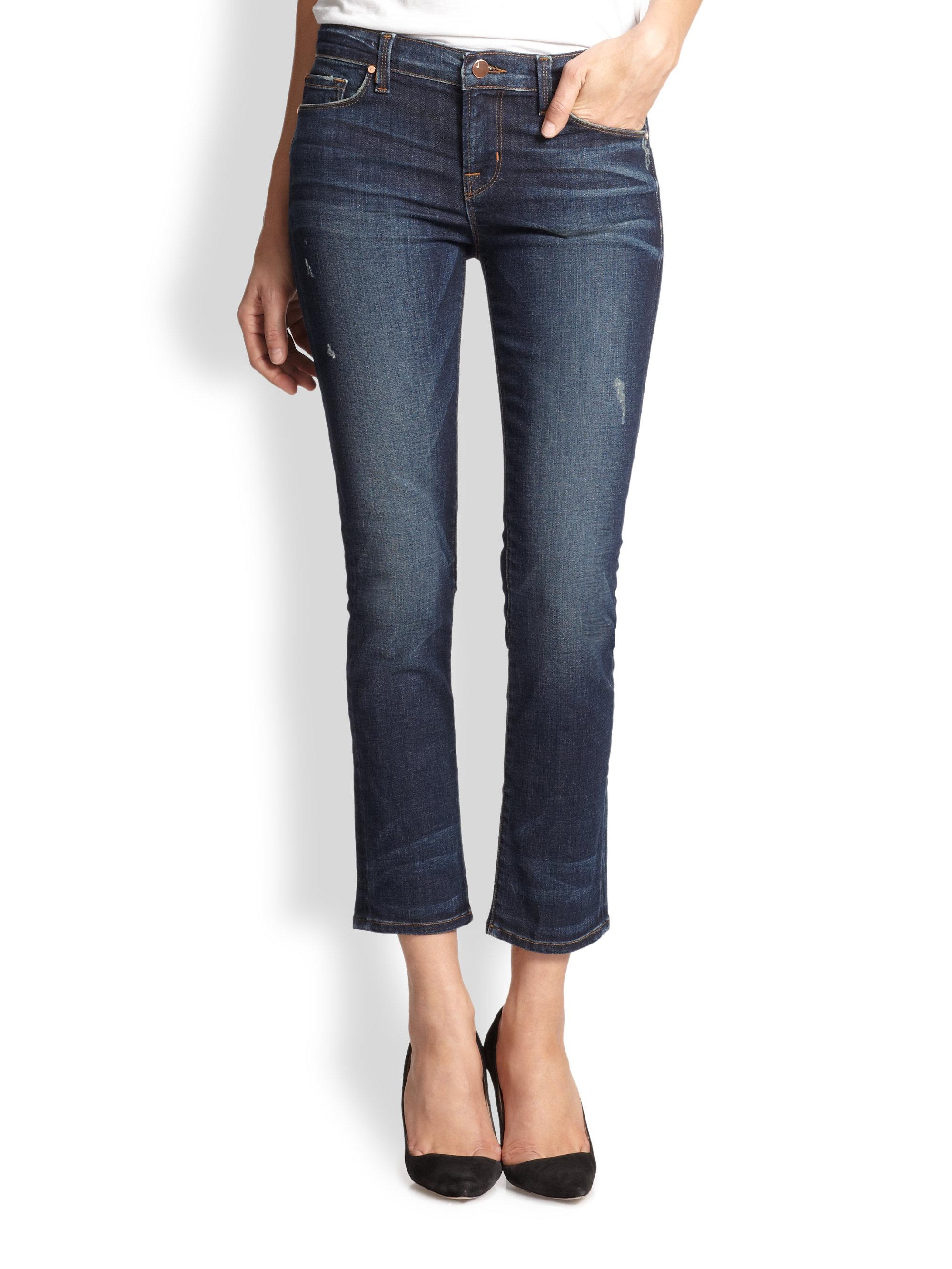 j brand rail cropped skinny jeans in blue heartbreaker. Black Bedroom Furniture Sets. Home Design Ideas