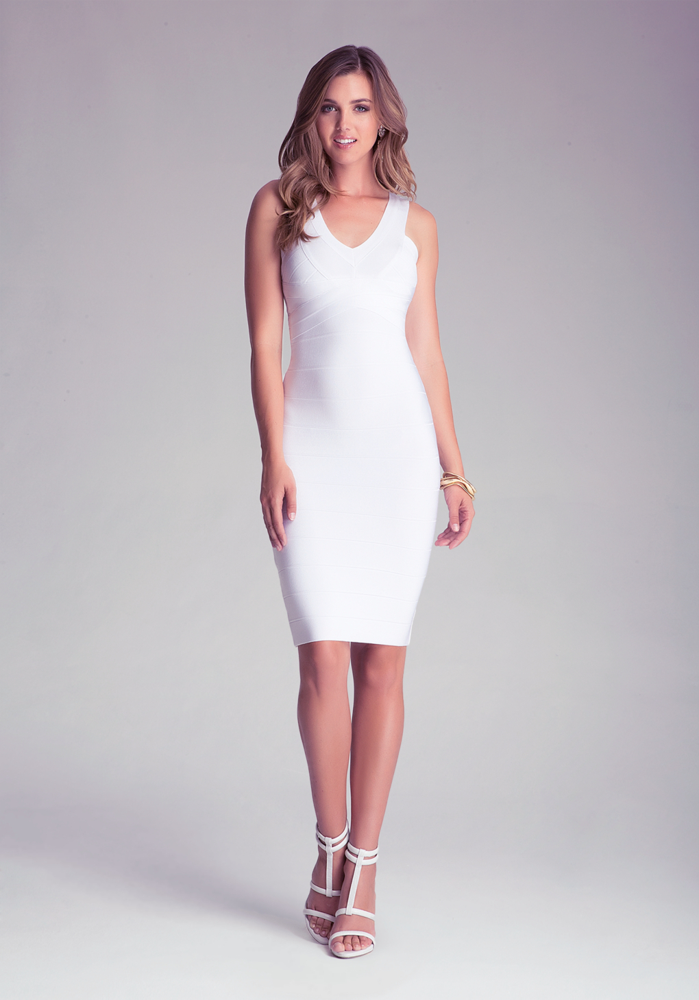 Bebe Double Vneck Bandage Midi Dress in White