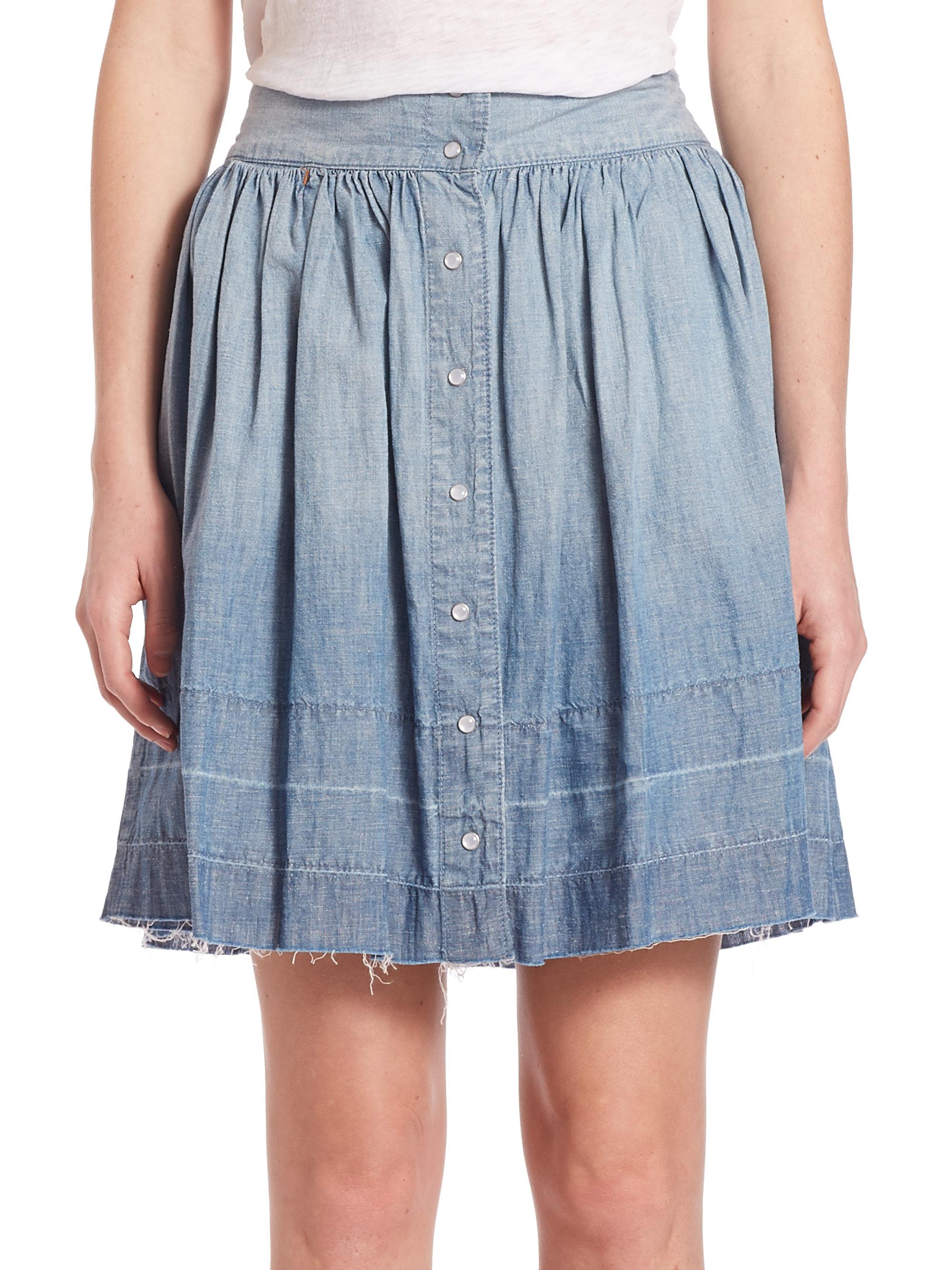 current elliott button front denim skirt in blue lyst