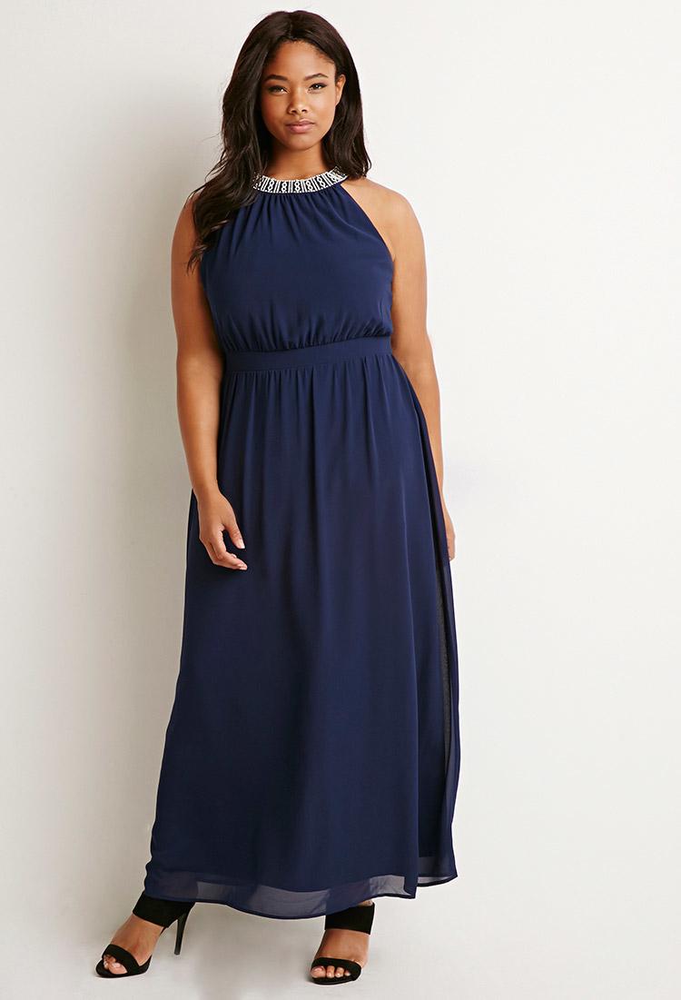 black n white plus length attire