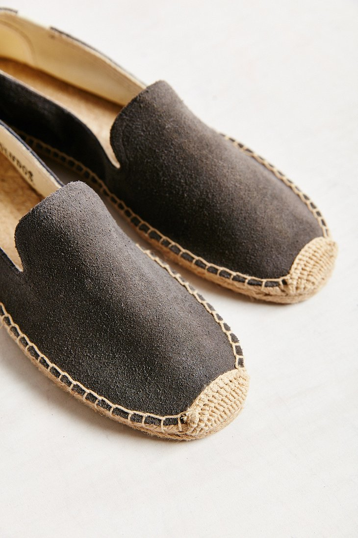 Lyst Soludos Suede Slip On Espadrille Shoe In Gray