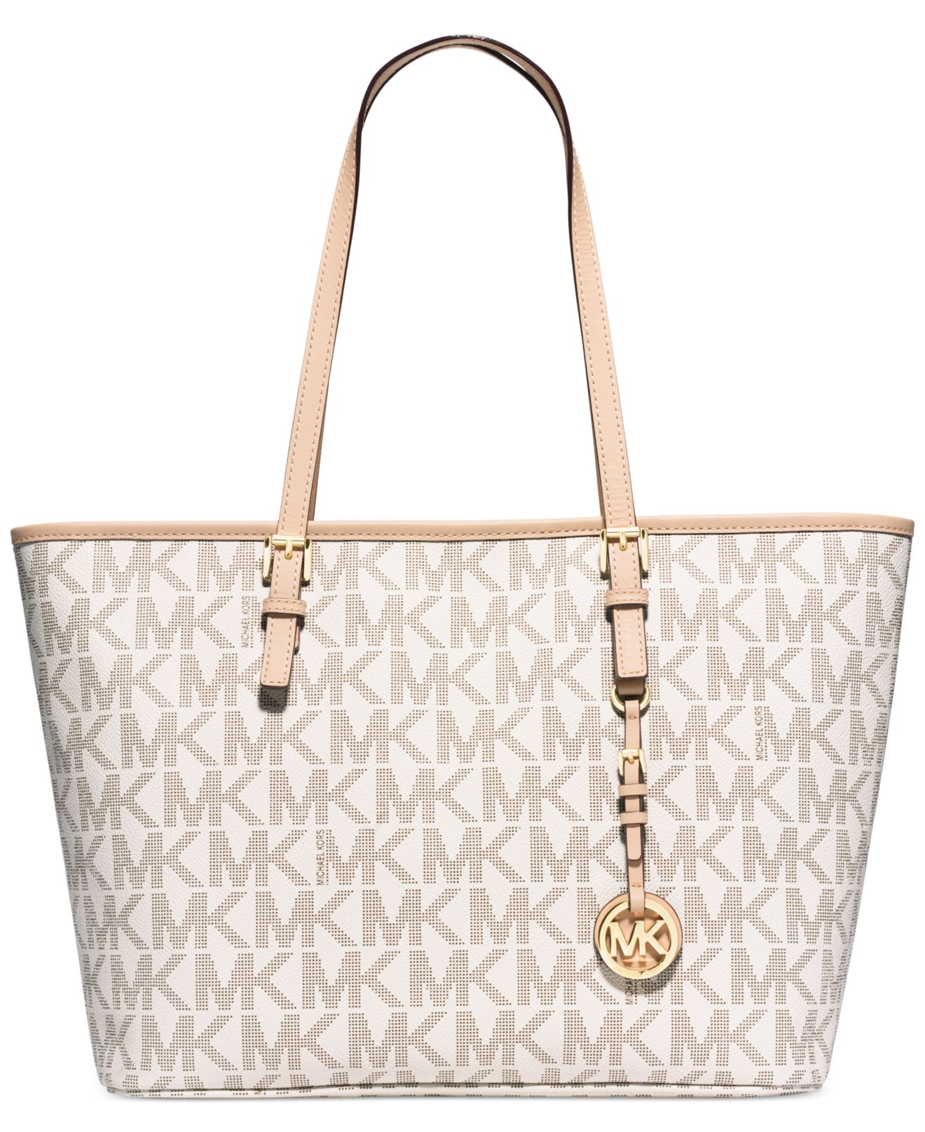 4e92cbdb732a Michael Kors Michael Jet Set Travel Top Zip Tote in White - Lyst