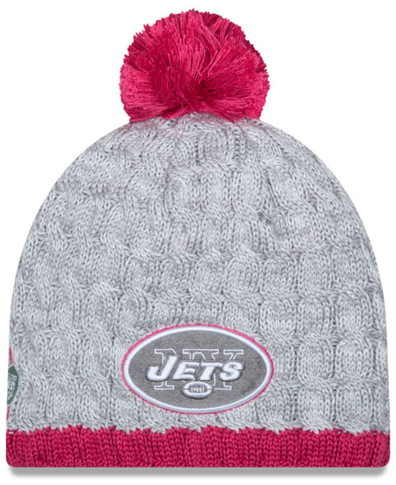 8ceb5a3191438 Lyst - KTZ Women s New York Jets Breast Cancer Awareness Knit Hat in ...