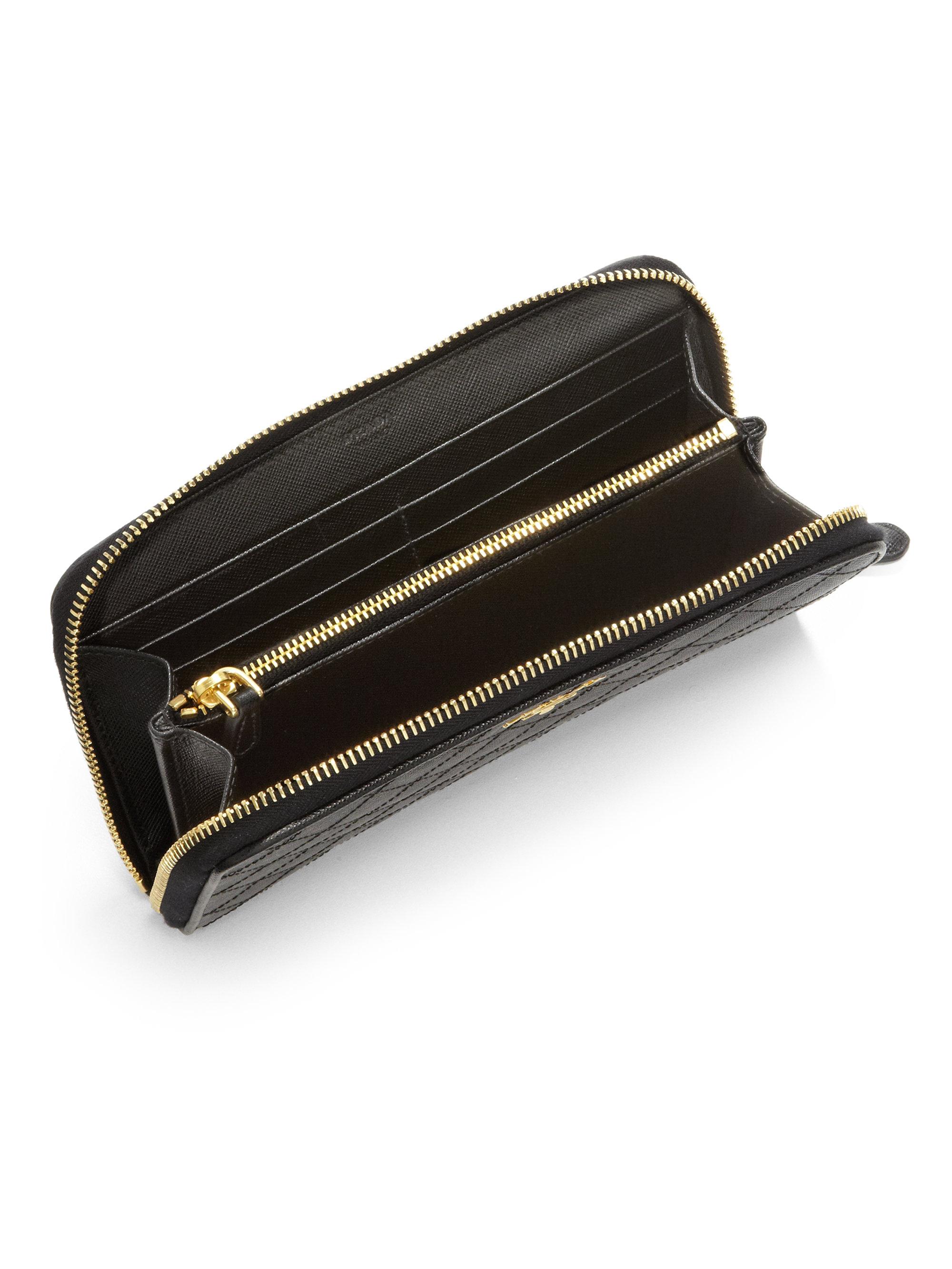 Prada Quilted Saffiano Ziparound Wallet in Black (NERO-BLACK) | Lyst