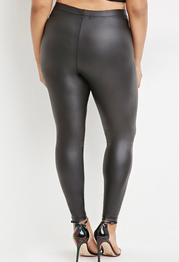 Plus Size Pleather Leggings