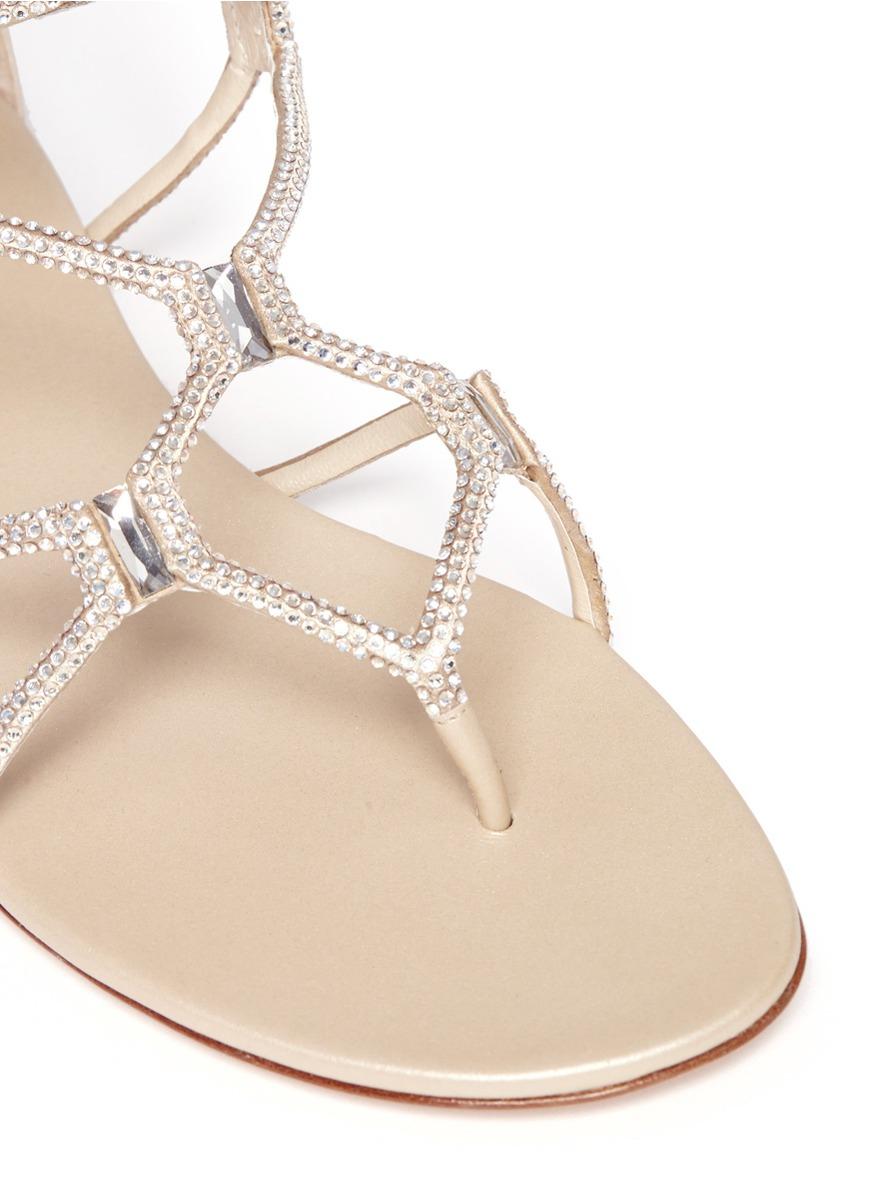 bccd3fd7608dbb Lyst - Rene Caovilla Crystal Embellished Flat Sandals in Metallic