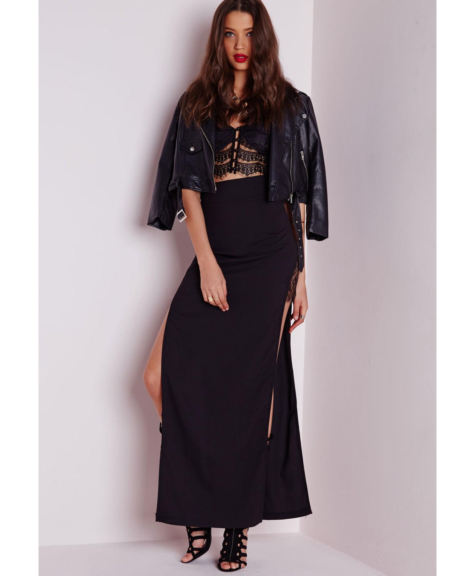 missguided lace insert split maxi skirt black in black lyst