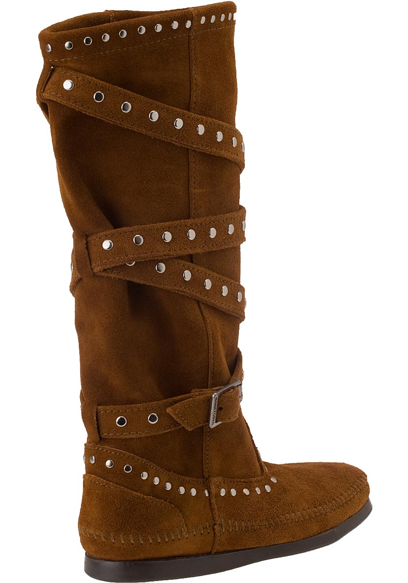Lyst Minnetonka Tall Studded Strap Boot Brown Suede In Brown