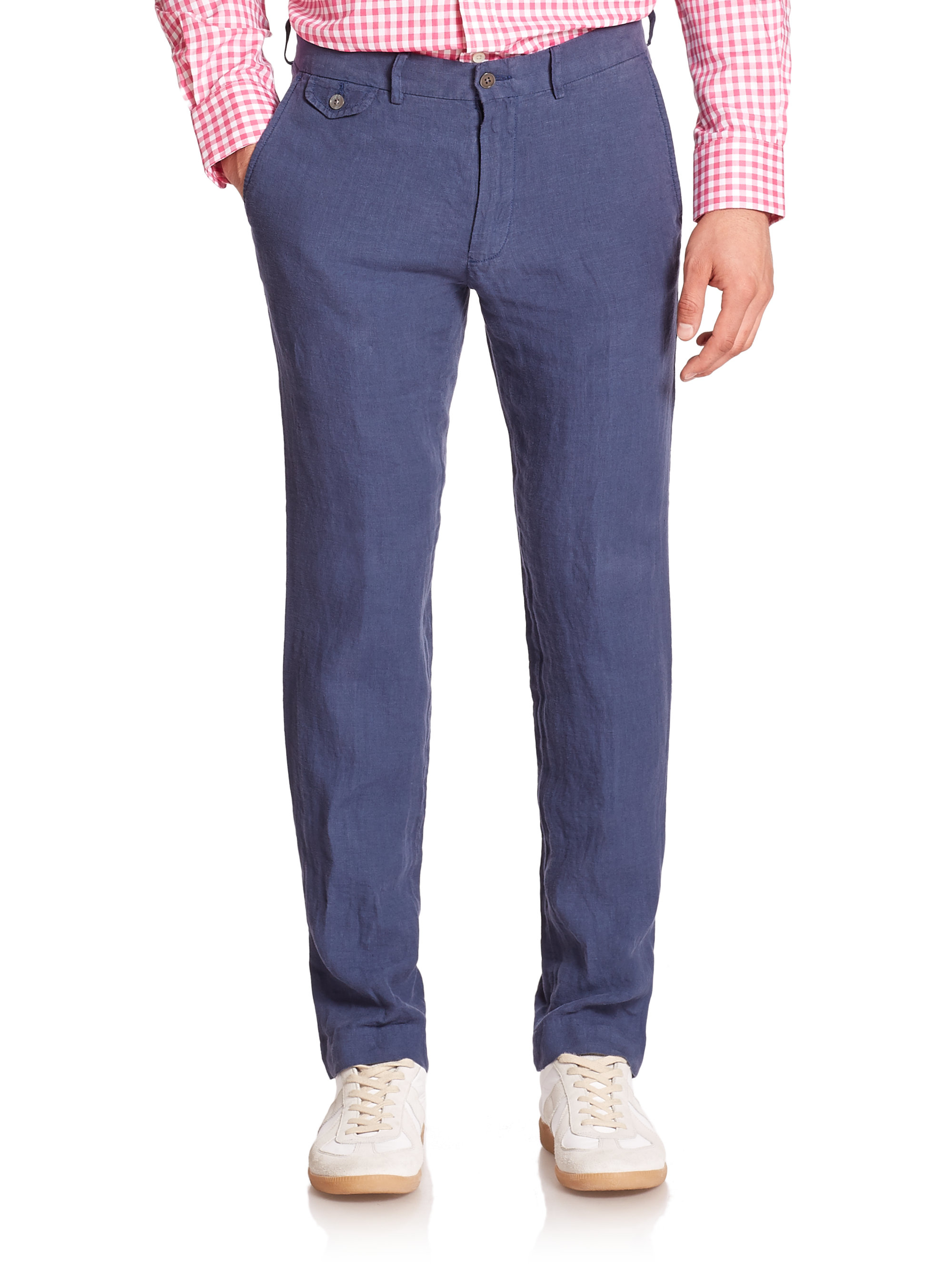 Polo ralph lauren Straight-fit Briton Linen Pants in Blue for Men ...