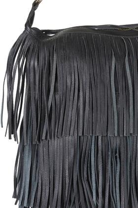 cc8bcbcdf TOPSHOP Leather Tassel Hobo Bag in Black - Lyst