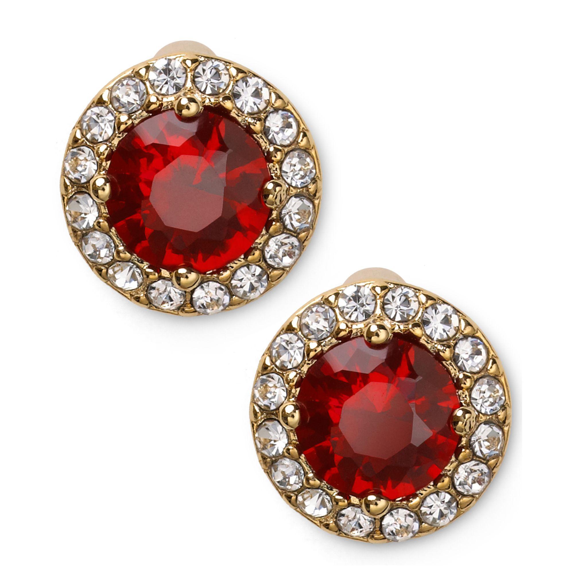 2116ec541 Red Stone Stud Earrings. Gallery. Lyst Lauren By Ralph 14k Goldplated Round  Faceted Gar