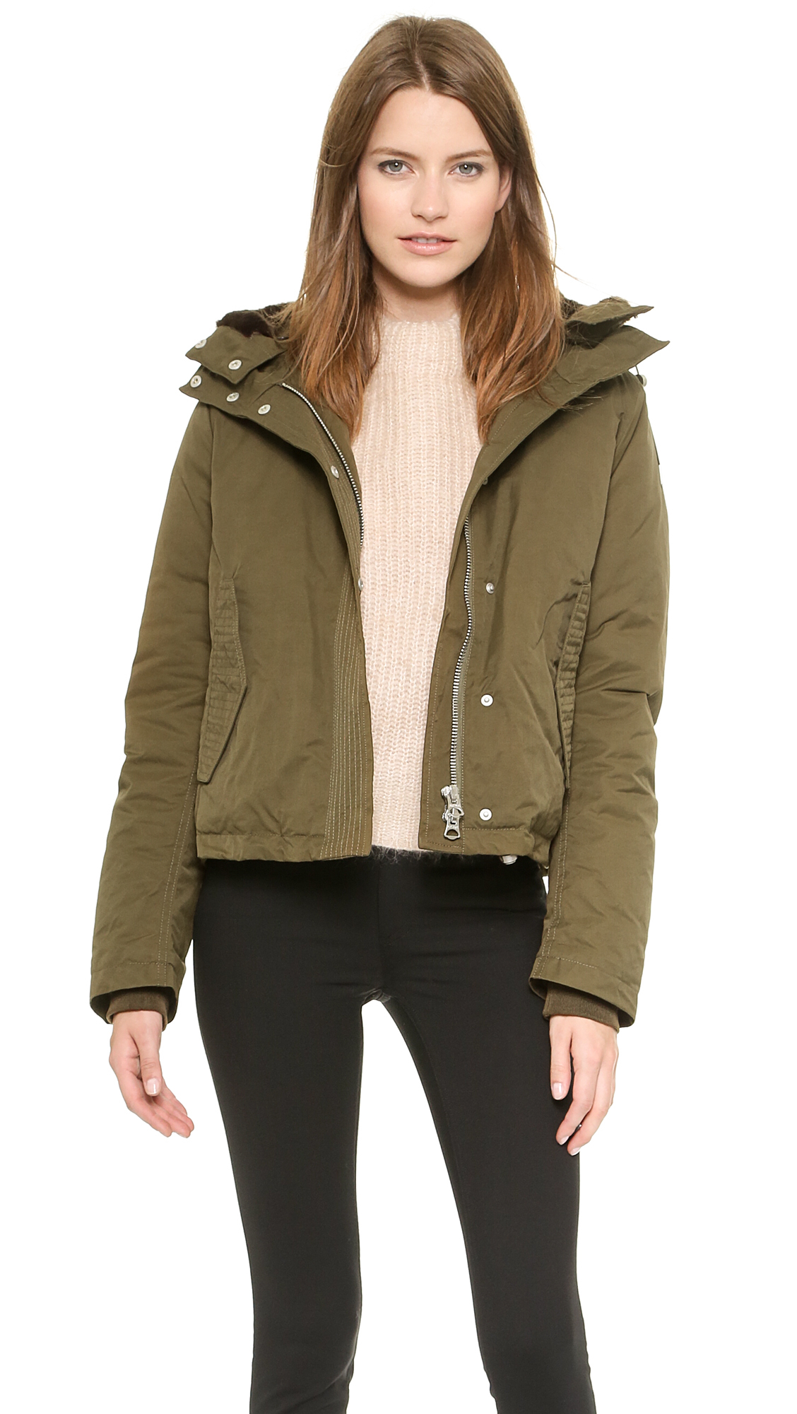 Acne studios Powder Short Parka - Green in Green | Lyst